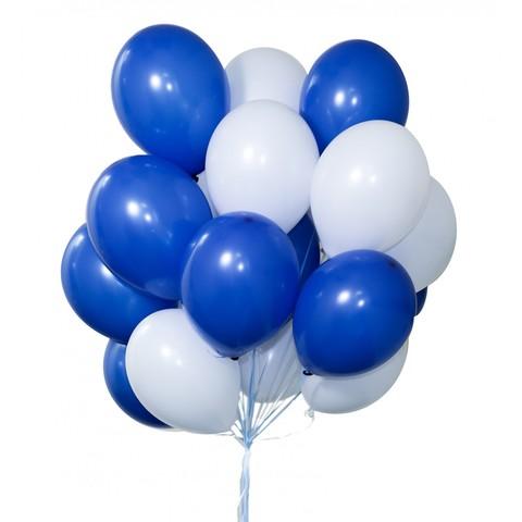 Воздушные шары с гелием Бело-синие