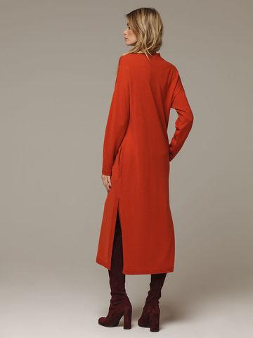 Женское оранжевое платье с разрезами из шерсти и кашемира - фото 3