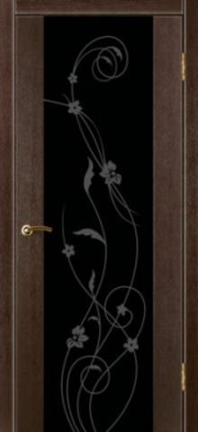 Дверь Стиль 1 (триплекс чёрный орхидея) (венге, остекленная ПВХ), фабрика Зодчий