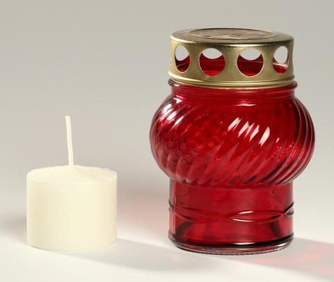Стеклянная лампада №1 со сменной вставкой (свечой)