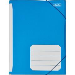 Папка на резинках Attache А4 картонная синяя (400 г/кв.м, до 200 листов)