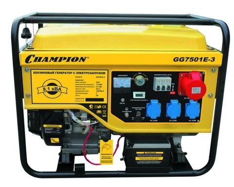 Бензогенератор Champion GG7501E-3 6,5 кВт трехфазный с электростартером