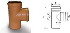 Тройник для дренажных труб d=63х63мм 90 градусов