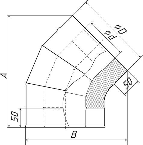 Отвод-сэндвич 135°, Ø120/220, 0,5мм, нерж/оц