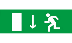 Знак для табло – УКАЗАТЕЛЬ ДВЕРИ ЭВАКУАЦИОННОГО ВЫХОДА ЛЕВОСТОРОННИЙ