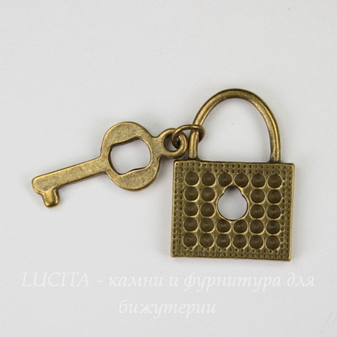 """Подвеска """"Замочек с ключиком"""" (цвет - античная бронза) 35х19 мм"""