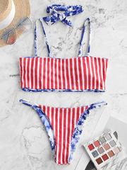 купальник раздельный бандо американский флаг синий красный 3