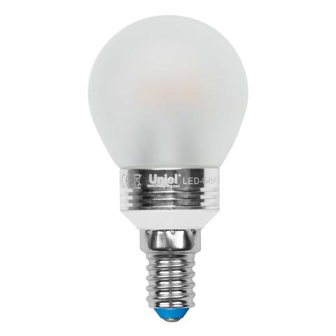 LED-G45P-5W/WW/E14/FR ALC02SL PROMO Лампа светодиодная. Форма «шар», матовая колба. Серия Crystal. Материал корпуса алюминий. Теплый белый свет. Пластик. ТМ Uniel.