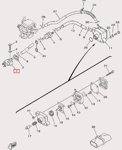Коннектор топливный для лодочного мотора F9,9 Sea-PRO (9-1)