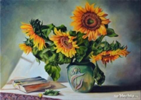 Картина раскраска по номерам 30x40 Подсолнухи на столе (арт. KTL1288)