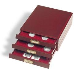 """Элегантная деревянная кассета LIGNUM, на 30 круглых ячеек D 39 mm (CAPS33), """"красное дерево"""", вставка темно красный бархат"""