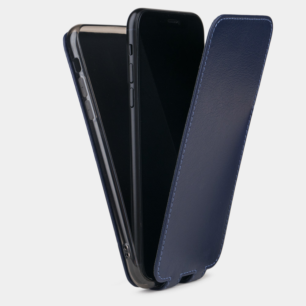 Чехол для iPhone 8 Plus из натуральной кожи теленка, цвета индиго