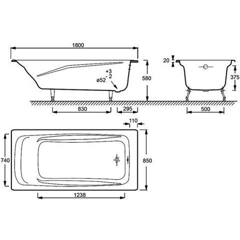 Ванна чугунная Jacob Delafon Repos 180x85 без отверстий для ручек   Е2904 схема
