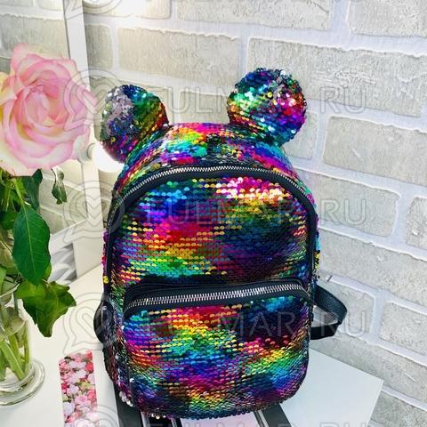 Рюкзак с круглыми ушками «Минни» меняют цвет пайетки Радужные-Зеркальные