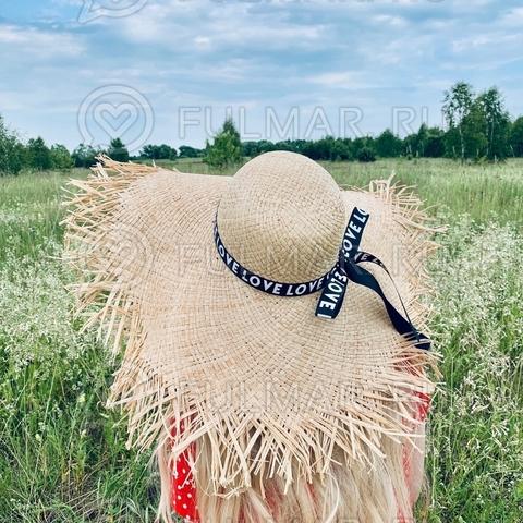 Большая оригинальная женская соломенная шляпа с широкими и рваными полями лента с надписью Love