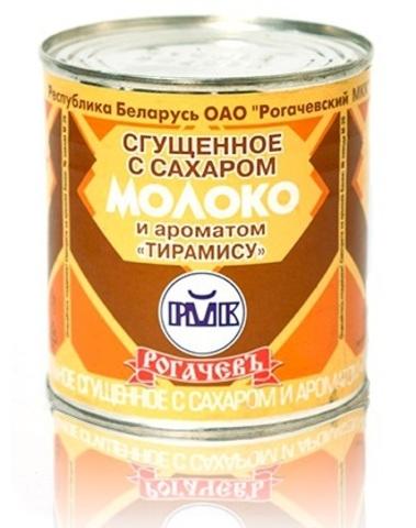Молоко цельное сгущённое с сахаром и ароматом тирамису 8,5% 380г. Рогачёв