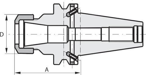 Цанговый патрон ER Форма ADB BT 50 A = 160