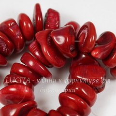 Бусина имитация Коралла (морской бамбук) (тониров), крошка, цвет - красный, 13-22 мм, нить