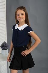 Вита. Классическая блуза с круглым воротником. Синий