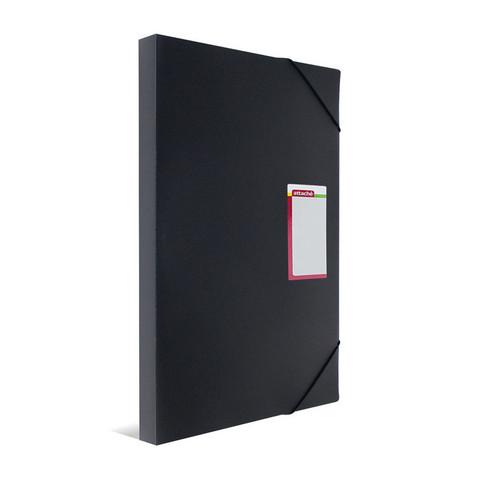 Папка-короб на резинках Attache А3 пластиковая черная (0.8 мм, до 300 листов)