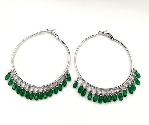 Серьги-кольца Drop из серебра с зелеными подвесками