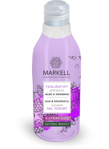 Markell Superfood Гель-йогурт для душа Асаи и Ежевика 380мл