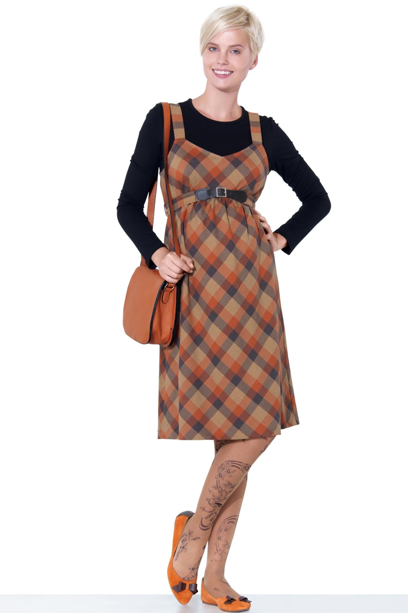 Сарафан для беременных 05573 коричневый-оранжевый