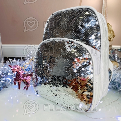 Рюкзак белый с пайетками меняет цвет Серебристый-Зеркальный и брелок-единорог  модель Liza