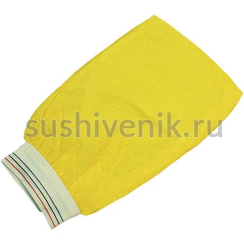 Рукавица для пилинга с манжетой (желтая)