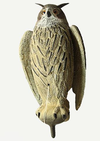 Чучело филина с крыльями (серый)