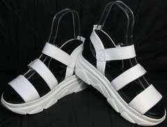 Босоножки сандали кожаные женские Evromoda 3078-107 Sport White