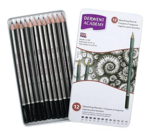 Набор чернографитных карандашей ACADEMY SKETCHING 12шт 6B-5H, металлическая уп-ка