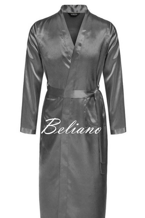 Серый халат шелковый  мужской короткий/длинный
