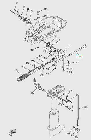 Вал управления дросселем  для лодочного мотора  T5 Sea-PRO