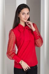 Милена. Изысканная блузка с оригинальным рукавом. Красный
