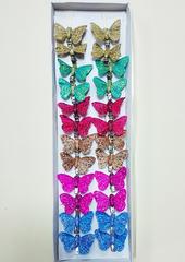 Бабочки декоративные на прищепке с блестками 4,5 см.