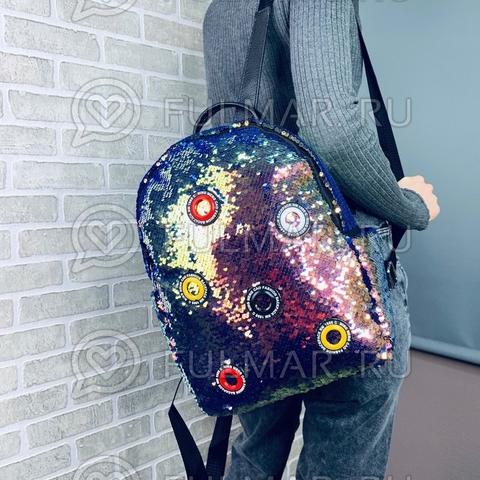 Рюкзак большой в двусторонних пайетках Золотистый с зелеными переливами-Синий модель