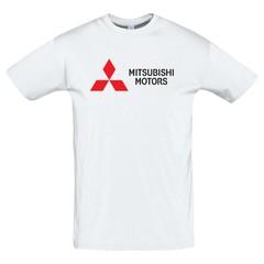 Футболка с принтом Митсубиси (Mitsubishi) белая