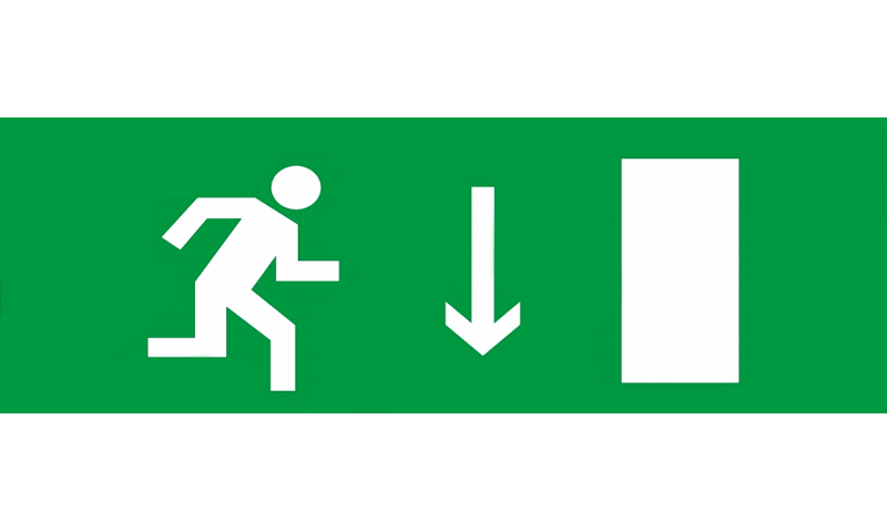Знак для табло – УКАЗАТЕЛЬ ДВЕРИ ЭВАКУАЦИОННОГО ВЫХОДА ПРАВОСТОРОННИЙ