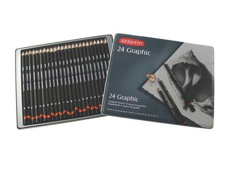 Набор чернографитных карандашей GRAPHIC 9B-9H 24шт., металлическая уп-ка