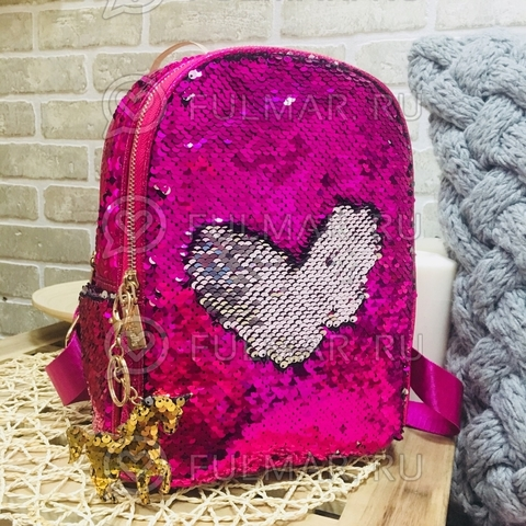 Рюкзак с пайетками меняющий цвет Фуксия-Серебристый и брелок Единорог  MILA