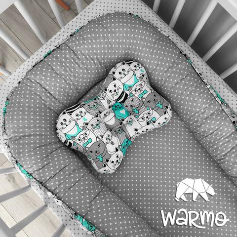 Кокон (гніздечко) для новонароджених Warmo ™ М'ЯТНІ КОТИКИ