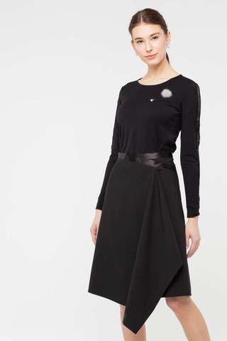 Фото черный джемпер с кружевными вставками на рукавах и круглым вырезом - Джемпер В610-674 (1)