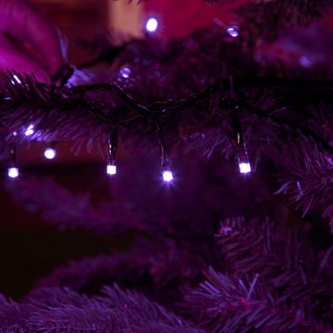 LED гирлянда нить 10 метров фиолетовый цвет 100 светодиодов