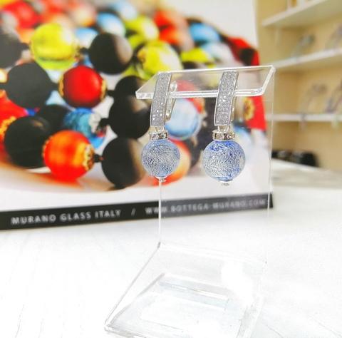 Серьги из муранского стекла со стразами Daniella Ca'D'oro Medio Sapfir 056OB