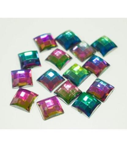 66 стразы квадратные разноцветные 15 шт