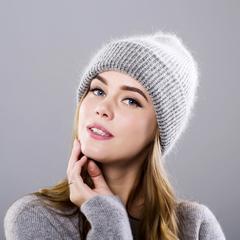 Вязаная женская шапка - колпак с отворотом, ангора (серая)