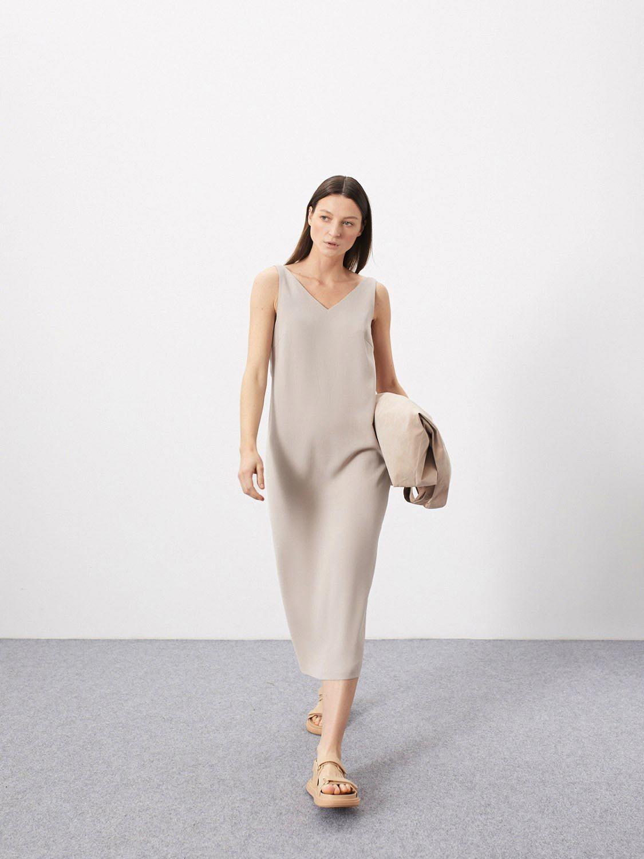 Платье Lana с глубоким вырезом, Светло-бежевый
