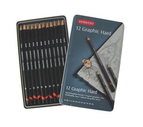 Набор чернографитных карандашей GRAPHIC HARD B-9H 12шт., металлическая уп-ка