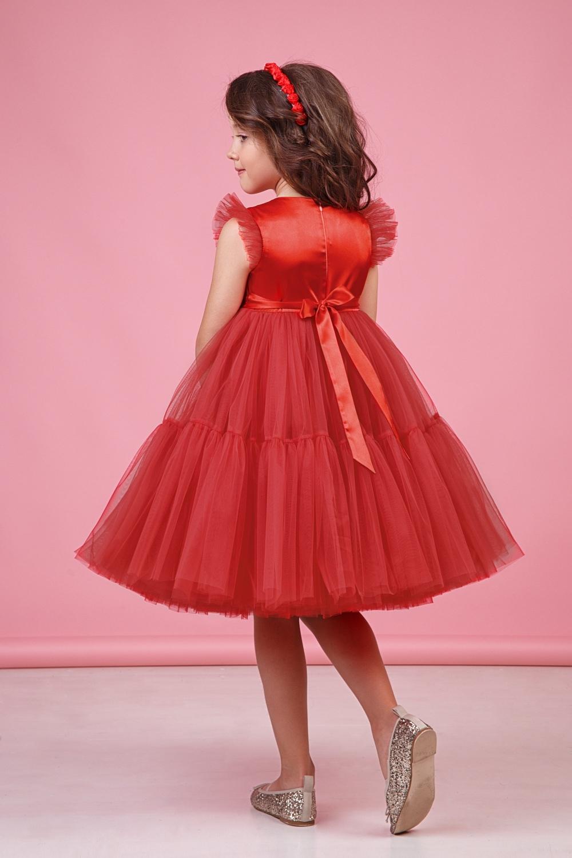 Платье красное для девочки 38-9002-8